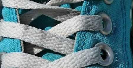 Close up image of sneaker and laces